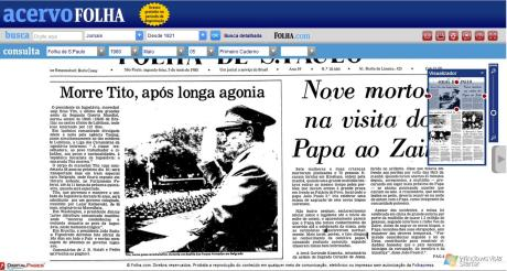 Folha de S.Paulo - Morte de Tito (5/5/1980)